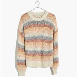 Madewell Baez Pullover Sweater Stripe Marled Fog